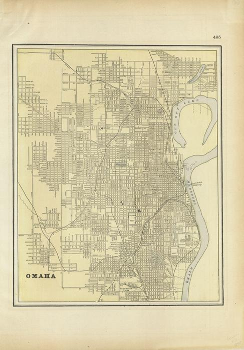 A color map of Omaha, Nebraska. 33 x 28 cm in frame 47 x 40 cm. Published approximately 1889., UNO Libraries' Archives & Special Collections