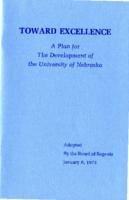 Toward Excellence: a Plan for the Development of the University of Nebraska