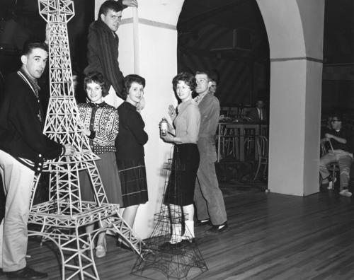 A group of students setting up decorations for the Military Ball., UNO Libraries' Archives & Special Collections
