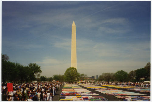 The Names Project AIDS Memorial Quilt Display next to the Washington Monument in Washington, D.C. during the 1993 March on Washington for Lesbian, Gay, and Bi Equal Rights and Liberation., UNO Libraries' Archives & Special Collections
