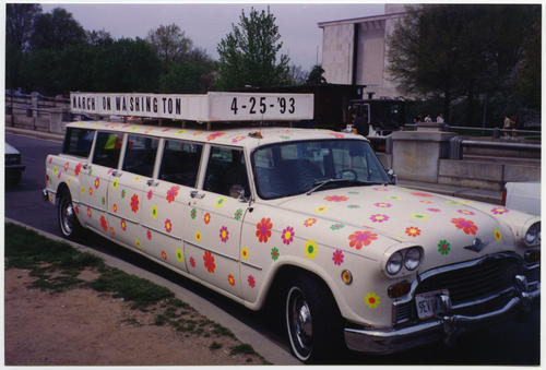 Car decorated with multicolored daisy flower decals at the 1993 March on Washington for Lesbian, Gay, and Bi Equal Rights and Liberation., UNO Libraries' Archives & Special Collections