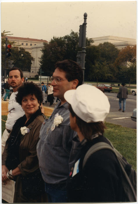 An unidentified person and Harvey Fierstein (both Caucasian people), at the Second National March on Washington for Lesbian and Gay Rights in Washington D.C. on October 11, 1987., UNO Libraries' Archives & Special Collections