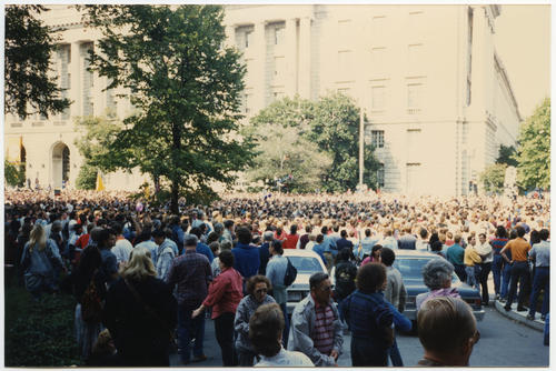The Wedding - Interfaith Ceremony of Commitment: a mass wedding demonstration to promote the rights of same-sex couples held in Washington, D.C. during the 1993 March on Washington for Lesbian, Gay, and Bi Equal Rights and Liberation., UNO Libraries' Archives & Special Collections