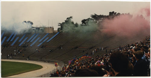 Smoke Display of Pride Colors at Opening Ceremony of Gay Games II., UNO Libraries' Archives & Special Collections