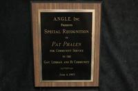 A.N.G.L.E., Inc. Award to Pat Phalen, 1993