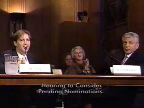 Hagel floor speech on military readiness, McCain follow-up recognizing Hagel retirement; Hagel at Banking Committee on national security; Hagel and Nelson in Finance Committee hearing introducing HHS nominee Ben Sasse , September-November 2007 (Running Time: 0:24:23), UNO Libraries' Archives & Special Collections