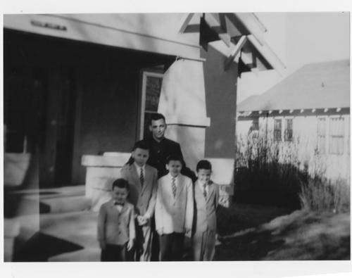 Charles Dean Hagel with sons: Chuck, Tom, Mike, and Jim., UNO Libraries' Archives & Special Collections