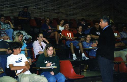 Senator Hagel speaks to students at Westside High School in Omaha, Nebraska., UNO Libraries' Archives & Special Collections
