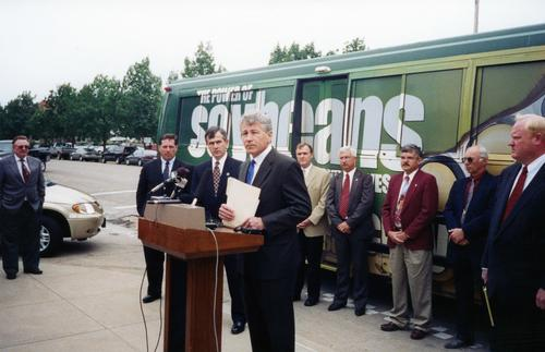 Senator Hagel giving a press conference with Governor Mike Johanns in Lincoln, Nebraska., UNO Libraries' Archives & Special Collections