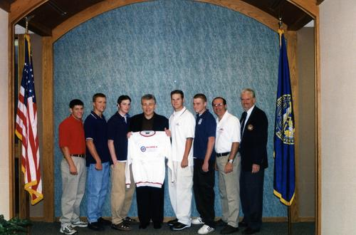 Senator Chuck Hagel and the Aksarben Curling Team, Omaha, Nebraska. The team earned Bronze at World's Competition, First at National Championships., UNO Libraries' Archives & Special Collections