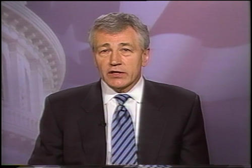 Hagel's message to returning U.S. Troops , January 9, 2003 (Running Time: 0:03:00), UNO Libraries' Archives & Special Collections