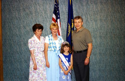 Senator Chuck Hagel with Tiffany Taylor, Little Miss Nebraska, Omaha, Nebraska., UNO Libraries' Archives & Special Collections