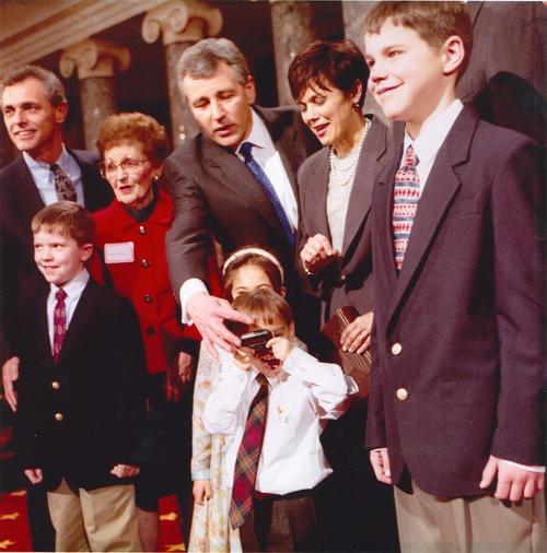 The Hagel family poses for a photo after Chuck Hagel is sworn in as U.S. Senator., UNO Libraries' Archives & Special Collections
