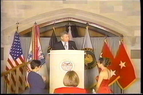 Hagel speech, West Point's 100th Night Banquet for the Class of 2002, presented with sabre , March 2002 (Running Time: 0:44:32), UNO Libraries' Archives & Special Collections