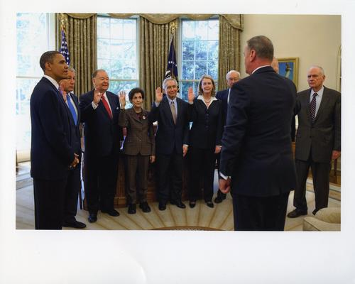Hagel is sworn in with others as a member of President Obama's Intelligence Advisory Board, UNO Libraries' Archives & Special Collections