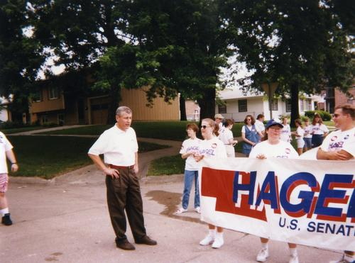 Hagel waits with supporters in preparation for the Seward 4th of July Parade, UNO Libraries' Archives & Special Collections