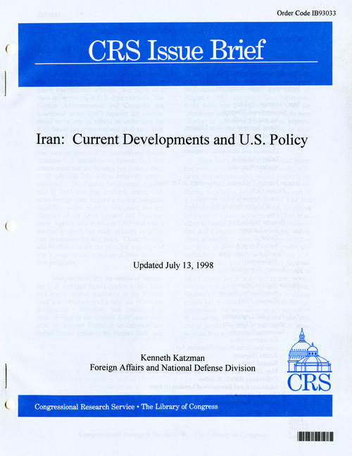 Cover to the CRS Issue Brief, Iran: Current Developments and U.S. Policy by Kenneth Katzman., UNO Libraries' Archives & Special Collections