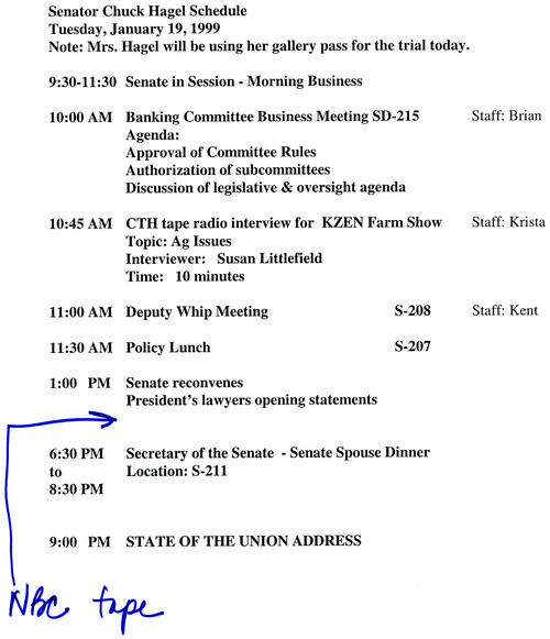 Schedule, January 19, 1999, with an Example of a Trial-Related Entry, UNO Libraries' Archives & Special Collections