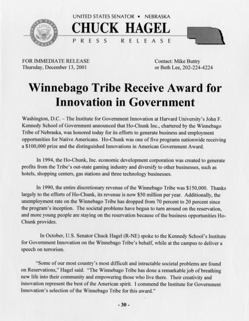 "Press release recognizing award to Winnebago Tribe for ""Innovation in Government"", UNO Libraries' Archives & Special Collections"