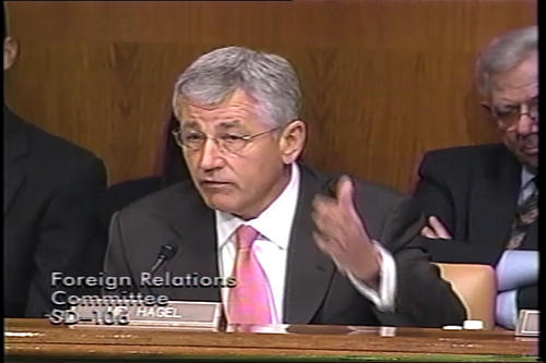 Hagel at Foreign Relations Committee with Condoleezza Rice; Banking Committee; Foreign Relations Committee on Iran and Russia; Hagel floor debate on Hagel Amendment #2391 , undated (Running Time: 0:27:23), UNO Libraries' Archives & Special Collections