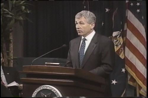 """A Salute to American Veterans"" Ceremony, Department of Labor, Hagel spoke and swore in an Assistant Secretary,"" November 9, 2001 (Running Time: 1:06:13), UNO Libraries' Archives & Special Collections"
