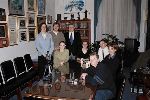 Photo of Hagel with journalism students from Doane College; Hagel met with the students on the record to discuss the 50-50 split in the Senate, the Presidency, and the agenda of the 107th Congress., UNO Libraries' Archives & Special Collections