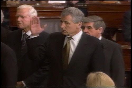 Group swearing in on the Senate Floor, start of Hagel's second term , January 7, 2003 (Running Time: 0:02:05), UNO Libraries' Archives & Special Collections