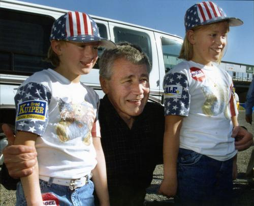Chuck Hagel with young constituents in Tilden, Nebraska., UNO Libraries' Archives & Special Collections