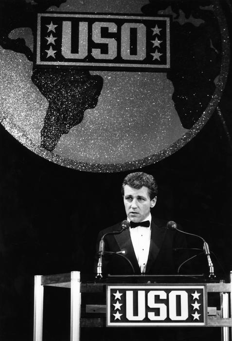 Hagel was president of the United Service Organizations in the late 1980s and spoke at an event in 1986.