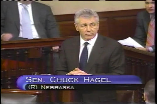 Hagel floor speech on the Iraq resolution; Hagel at Foreign Relations Committee , January 24 and 26, 2007 (Running Time: 0:14:23), UNO Libraries' Archives & Special Collections