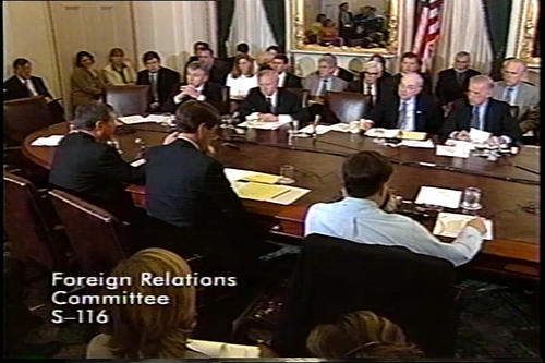 Hagel in Foreign Relations Committee meeting on a Kosovo resolution , April 30, 1999 (Running Time: 1:11:34), UNO Libraries' Archives & Special Collections