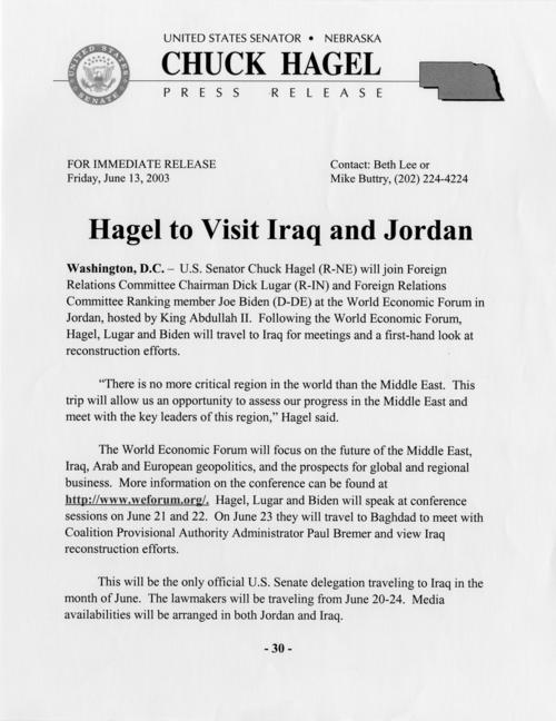 "Press release, ""Hagel to Visit Iraq and Jordan,"" June 13, 2003. (1 page), UNO Libraries' Archives & Special Collections"