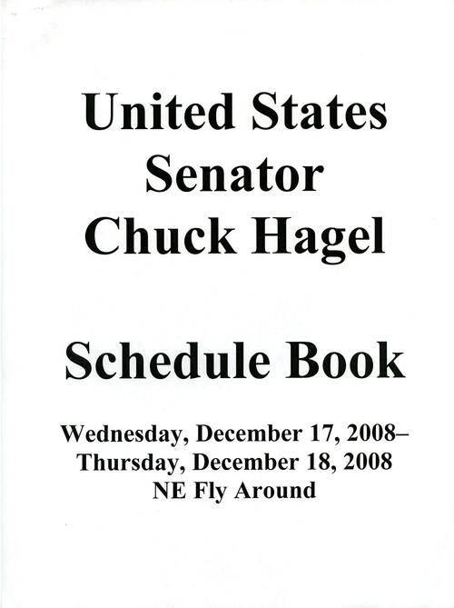 Schedule Book Cover, December 17-18, 2008, NE Fly Around, UNO Libraries' Archives & Special Collections