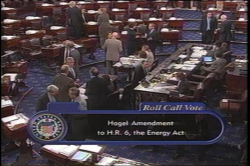 Hagel floor tribute to Senator Exon; Hagel at Foreign Relations Committee North Korea; Hagel floor speeches on Army's formation and Hagel Energy Act (H.R. 6) amendment on climate change; Roll call vote and results on floor on amendment, Hagel in background; Hagel on nomination of Richard Raymond as Agriculture Undersecretary , 2005 (Running Time: 1:15:18), UNO Libraries' Archives & Special Collections