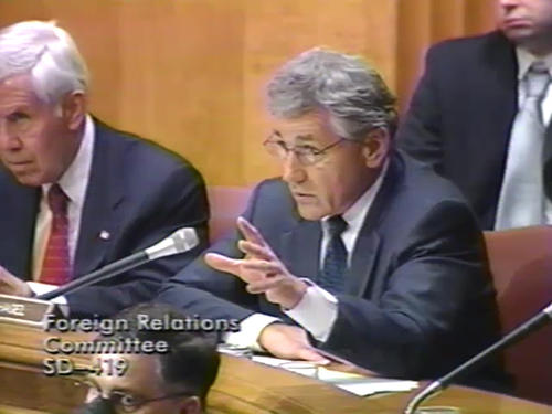 Hagel at Foreign Relations Committee , 2002 (Running Time: 1:37:28), UNO Libraries' Archives & Special Collections